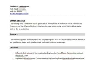 BCA Fresher Resume Sample Format in word – Doc PDF