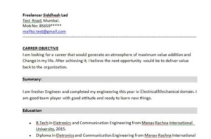 Resume For Bsc Computer Science Fresher Doc Siddhesh Lad